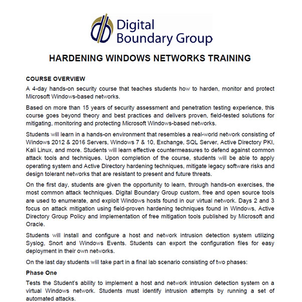 Hardening Windows Networks Training