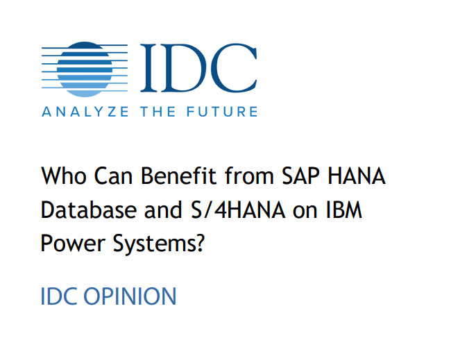 IDC Opinion: Who Can Benefit from SAP HANA Database and S/4HANA on IBM Power Systems?