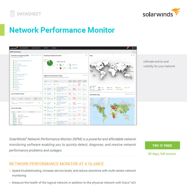 SolarWinds® Network Performance Monitor