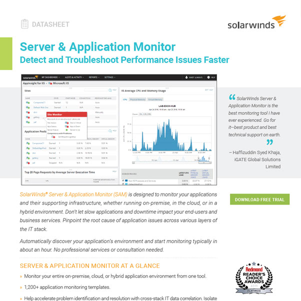 SolarWinds® Server & Application Monitor